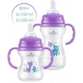 BAYBY Sada 2 kojeneckých lahví 6m+, fialová