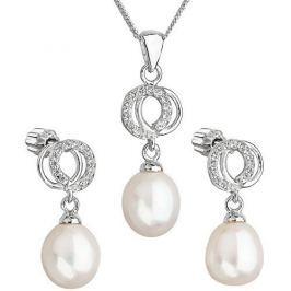 Evolution Group Překrásná perličková sada se zirkony 29003.1 bílá stříbro 925/1000