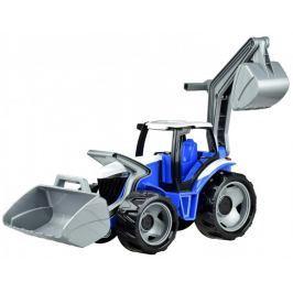 LENA Traktor se lžící a bagrem modro šedý - II. jakost