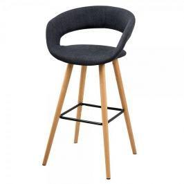 Design Scandinavia Barová židle s dřevěnou podnoží Garry (SET 2 ks), tm. šedá