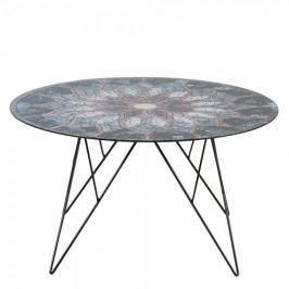 Design Scandinavia Konferenční stolek Stark, 80 cm, sklo s potiskem
