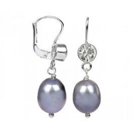 JwL Luxury Pearls Stříbrné náušnice s kovově modrou perlou a krystalem JL0212 stříbro 925/1000