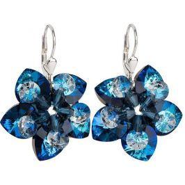 Evolution Group Náušnice květiny 31130.5 bermuda blue stříbro 925/1000