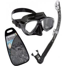Cressi Set maska MAREA + ALPHA ULTRA DRY šnorchl, černá-černá