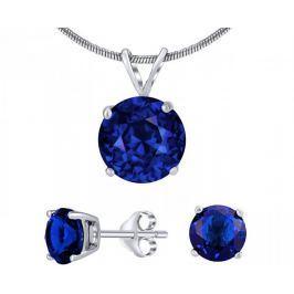 Silvego Stříbrný set šperků s tmavě modrým křišťálem JJJS8TM1 stříbro 925/1000