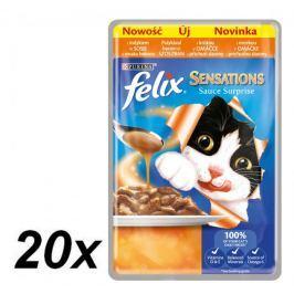 Felix Sensations Sauce Surprise kapsička s krůta v omáčce s příchutí slaniny 20x100g