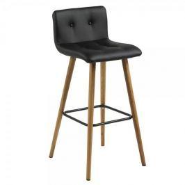Design Scandinavia Barová židle Fredy (SET 2 ks), černá kůže