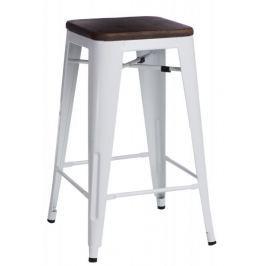 Mørtens Furniture Barová židle Mason bez opěradla, tmavé dřevo, bílá