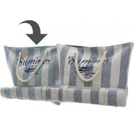 Kaemingk Plážová taška s podložkou pruhovaná, světle modrá