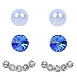 Levien Náušnice Set Ear Cuff 4 v 1 Sapphire Light Blue