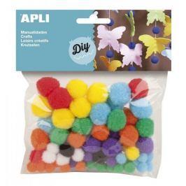 Pom pom APLI mix velikostí a barev/78 ks