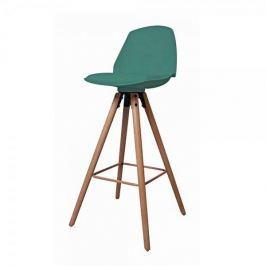 Danish Style Barová židle s dřevěnou podnoží Stephie, zelená