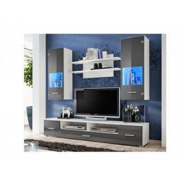 RENO, obývací stěna, bílá/grafitový lesk