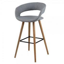 Design Scandinavia Barová židle s dřevěnou podnoží Garry (SET 2 ks), šedá
