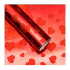 Balicí papír lesklý, červený se srdíčky, 5 archů