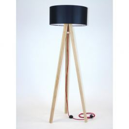 Stojací lampa s černým stínítkem a červeným kabelem Ragaba Wanda