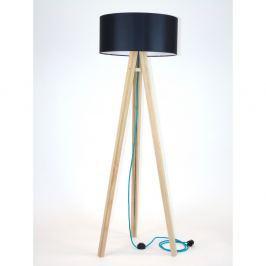Stojací lampa s černým stínítkem a tyrkysovým kabelem Ragaba Wanda