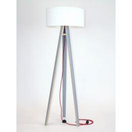 Šedá stojací lampa s bílým stínítkem a červeným kabelem Ragaba Wanda