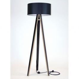 Černá stojací lampa s černým stínítkem a černým kabelem Ragaba Wanda