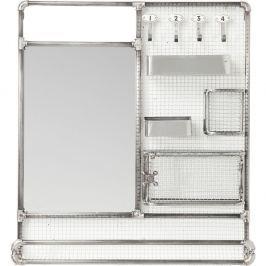 Zrcadlo s poličkami ve stříbrné barvě Kare Design Mirror Buster Organizer, 71x80cm