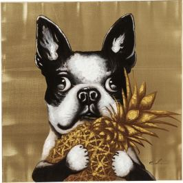 Obraz Kare Design Dog with Pineapple, 80 x 80 cm
