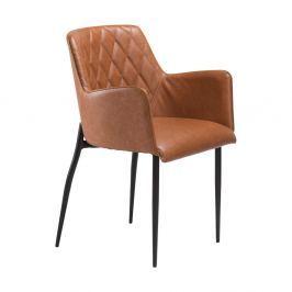 Hnědá jídelní židle z eko kůže s područkami DAN–FORM Denmark Rombo Faux