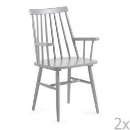Sada 2 šedých jídelních židlí La Forma Kristie