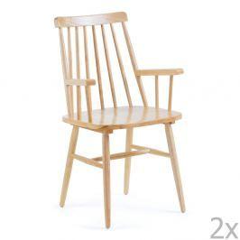 Sada 2 přírodních jídelních židlí La Forma Kristie