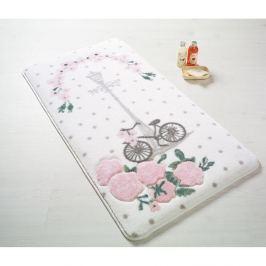 Bílá předložka do koupelny Confetti Bathmats Sweet Vintage Bike, 80 x 140 cm