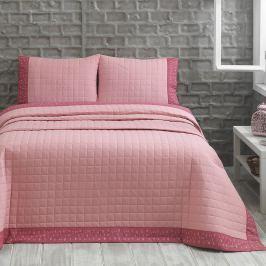 Přehoz s polštáři Jolly, 240x250 cm, růžový