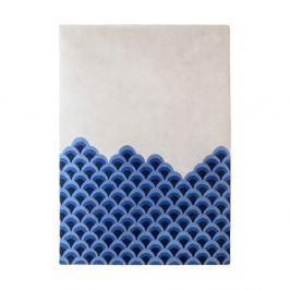 Modro-bílý koberec z čisté vlny HARTÔ Marin, 170 x 240 cm