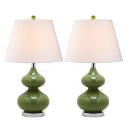 Sada 2 stolních lamp se zelenou základnou Safavieh Gabriel