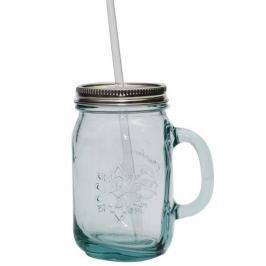 Sklenice z recyklovaného skla s víčkem a brčkem Ego Dekor Authentic, 550 ml
