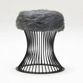 Taburetka se sedákem z šedé umělé kožešiny Balcab Home Milly