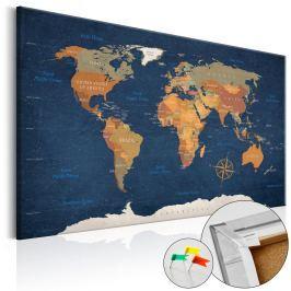 Nástěnka s mapou světa Bimago Ink Oceans, 90x60cm