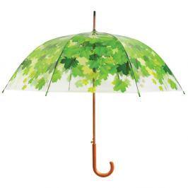 Transparentní holový deštník se zelenými detaily Esschert Design Ambiance Birdcage Leaf, ⌀92,5cm