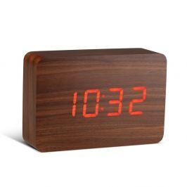 Tmavě hnědý budík s červeným LED displejem Gingko Brick Click Clock