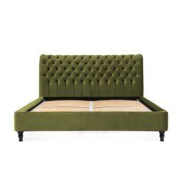 Olivově zelená postel z bukového dřeva s černými nohami Vivonita Allon, 180 x 200 cm