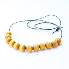 Žlutý dřevěný dlouhý náhrdelník Ko-ra-le Long