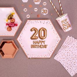 Sada 8 velkých papírových talířů Neviti Glitz & Pink Happy 20