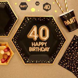 Sada 8 velkých papírových talířů Neviti Glitz & Glamour Happy 40
