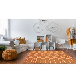 Oranžový vysoce odolný koberec vhodný do exteriéru Webtappeti Trellis,160x230cm