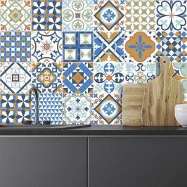 Sada 24 nástěnných samolepek Ambiance Azulejos Ornaments Mosaic, 10 x 10 cm