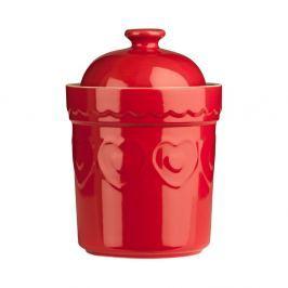 Červená kameninová dóza Premier Housewares Sweet Heart,0,8l