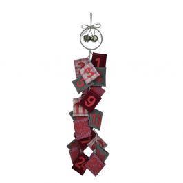 Červený závěsný adventní kalendář z vlny Ego Dekor Advent, výška77cm