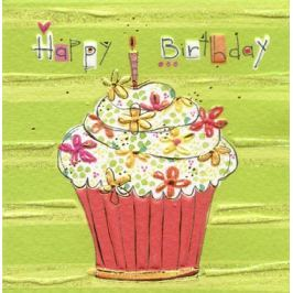 TURNOWSKY - Luxusní malé přání s obálkou, Happy Birthday - cup cake 7,8 x7,8 cm (MD 5893X1)
