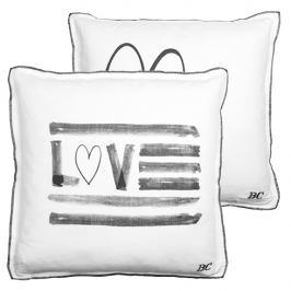 Cushion 50x50 Love White with Heart in dark Grey