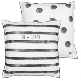 Cushion 50x50 Wh be Happy/dots stripe in dark grey