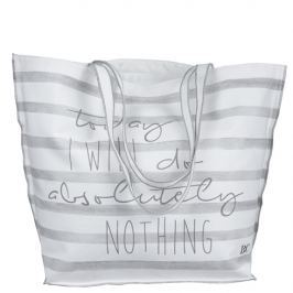 Beachbag White/L.grey stripes 60x45cm I will do...