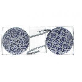 KERSTEN - Hačky na oblečení, keramika, kov, modrá, 5x11x6cm